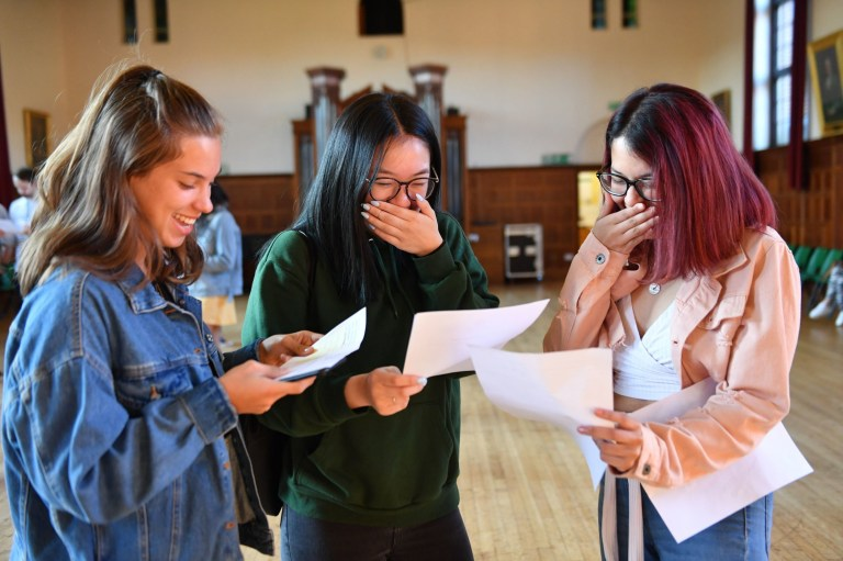 Students (from left) Olivia Kolasinski, Joey Guan and Sinali Gunarathne, celebrate their A Level results at King Edward VI High School for Girls in Birmingham. PRESS ASSOCIATION Photo. Picture date: Thursday August 15, 2019. See PA story EDUCATION Alevels. Photo credit should read: Jacob King/PA Wire