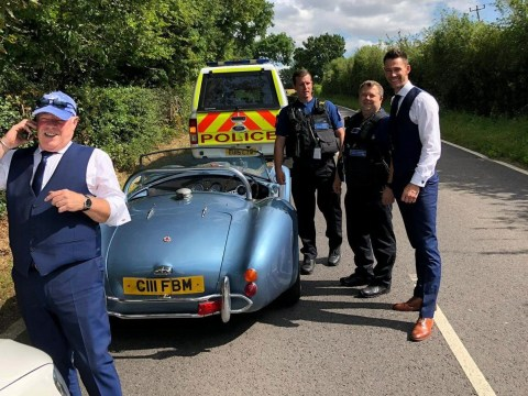 Groom almost misses wedding after car breaks down but police step in to give him a ride