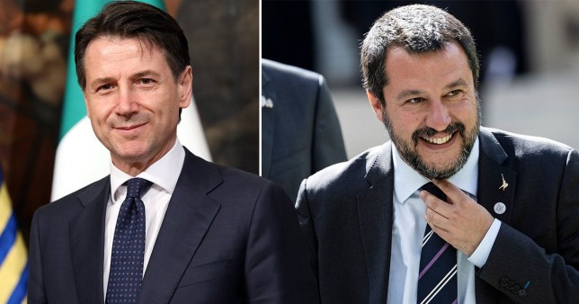 Italy's Prime Minister Giuseppe Conte and League leader Matteo Salvini