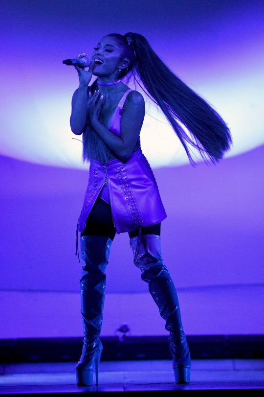 "LONDON, ENGLAND - AUGUST 19: Ariana Grande performs on stage during her ""Sweetener World Tour"" at The O2 Arena on August 19, 2019 in London, England. (Photo by Kevin Mazur/Getty Images for AG)"