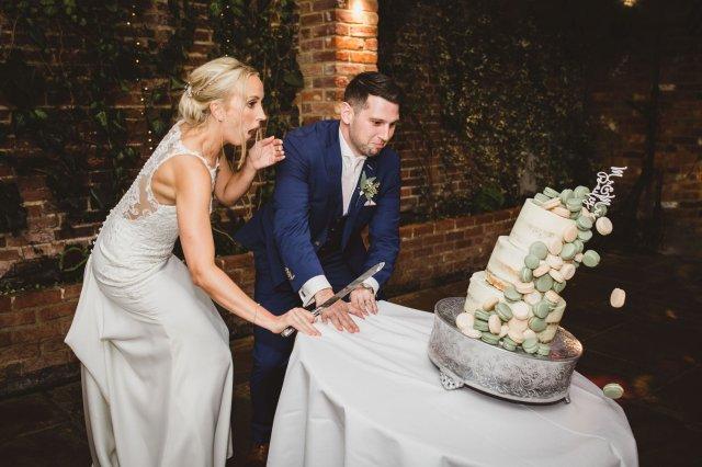 Chloe and Aaron Bailey's wedding cake fell to the floor