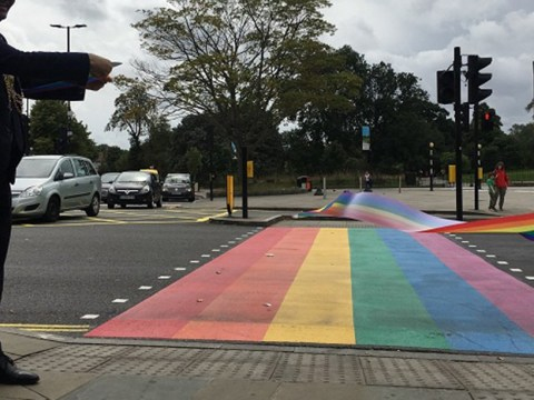 UK's first permanent LGBT rainbow road crossing unveiled in London