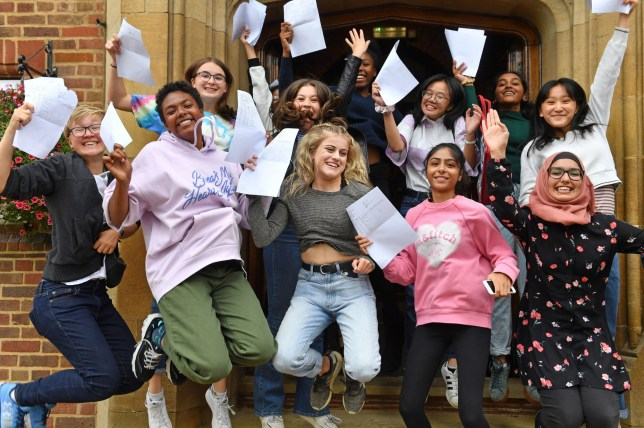 Pupils celebrate with their GCSE results at King Edward VI High School for Girls, in Birmingham. PRESS ASSOCIATION Photo. Picture date: Thursday August 22, 2019. See PA story EDUCATION GCSEs. Photo credit should read: Jacob King/PA Wire