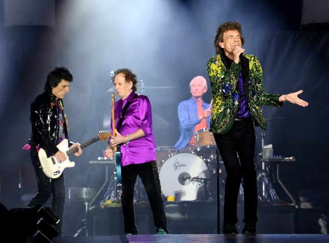 PASADENA, CALIFORNIA - AUGUST 22: (L-R) Ronnie Wood, Keith Richards, Charlie Watts and Mick Jagger of The Rolling Stones perform onstage at Rose Bowl on August 22, 2019 in Pasadena, California. (Photo by Kevin Winter/Getty Images)