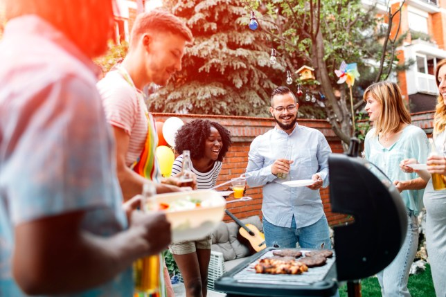 Group of young people having fun at barbecue party in a backyard. Man with apron grilling and giving meats to his friends. African man holding salad. They are enjoy spending time together.