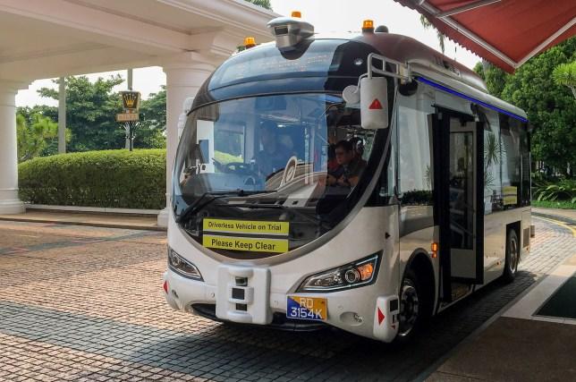 An autonomous shuttle bus is seen during a public trial on Sentosa Island, Singapore August 26, 2019. Picture taken August 26, 2019. REUTERS/Travis Teo