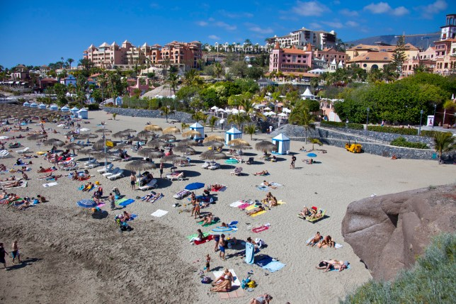 TENERIFE, SPAIN - MARCH 25: Aerial view of the beach Playa del Duque in Playa de las Americas on March 25, 2011 in Tenerife, Spain. Tenerife is the biggest of the canary islands and because of its warm climate and vulcanic landscape an all year long holiday destination. Tenerife is home of Spains highest mountain Pico del Teide (3718 m). (Photo by EyesWideOpen/Getty Images)