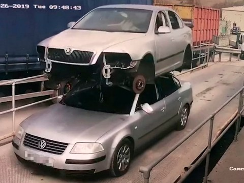 Mechanic drove with car on top of his car to get rid of it for a friend
