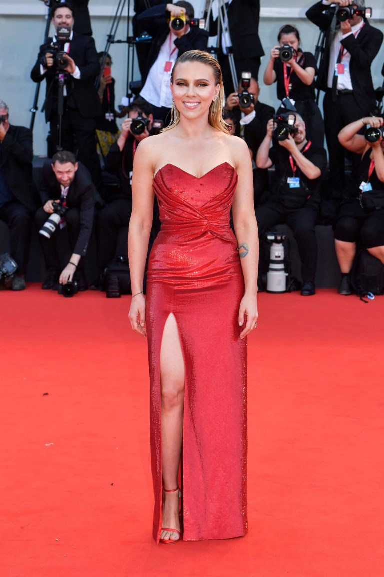 "VENICE, ITALY - AUGUST 29: Scarlett Johansson walks the red carpet ahead of the ""Marriage Story"" screening during the 76th Venice Film Festival at Sala Grande on August 29, 2019 in Venice, Italy. (Photo by Stephane Cardinale - Corbis/Corbis via Getty Images)"