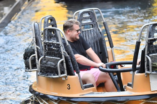 EXCLUSIVE: James Corden gets soaked on the grizzly river run at California adventure. The funny guy was seen having a blast while at the park riding the big thunder mountain and other rides. 29 Aug 2019 Pictured: James Corden. Photo credit: Snorlax / MEGA TheMegaAgency.com +1 888 505 6342 (Mega Agency TagID: MEGA491456_011.jpg) [Photo via Mega Agency]