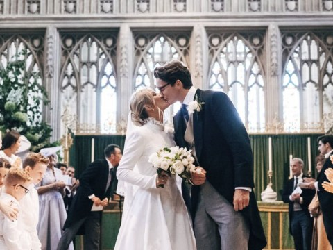 Ellie Goulding and Caspar Jopling seal their marriage with a kiss inside York Minster