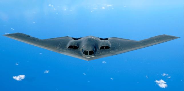 An American Northrop Grumman B-2 Spirit, or Stealth Bomber