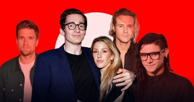 Ellie Goulding with her faince Caspar Joplin and past boyfriends Greg James, Dougie Poynter and Skrillex.