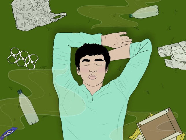 Illustration of man lying on the grass with his arms above his head with trash on the ground around him