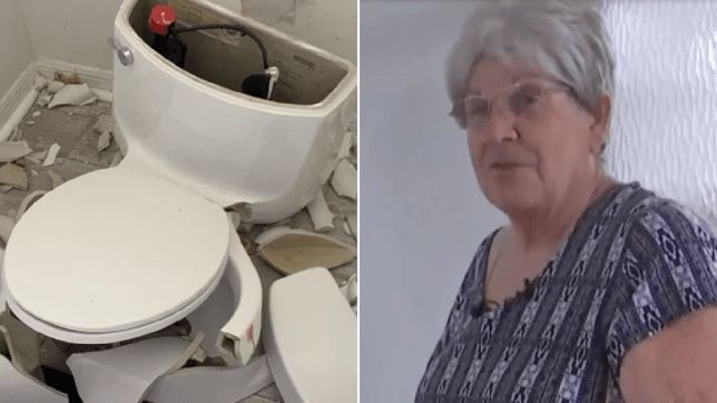 Picture of wrecked toilet next to photo of homeowner Marylou Ward