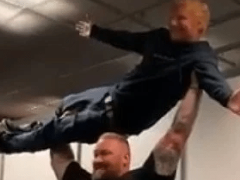 Ed Sheeran lifted by The Mountain from Game Of Thrones like it's nothing