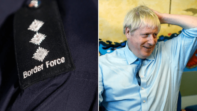 Border force shoulder badge (left) and picture of Boris Johnson (right)
