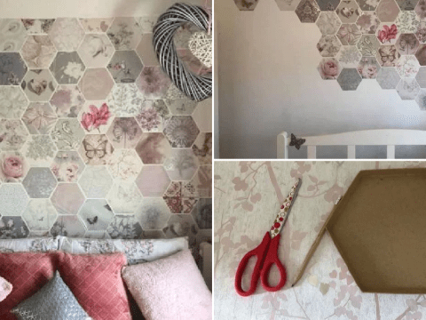 Mum creates amazing feature wall for free using wallpaper samples