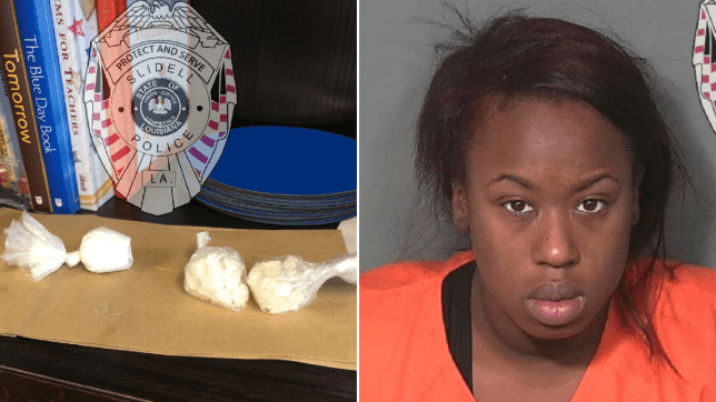 Photo of cocaine brought to school by child next to mugshot of suspect Angelica Stanley
