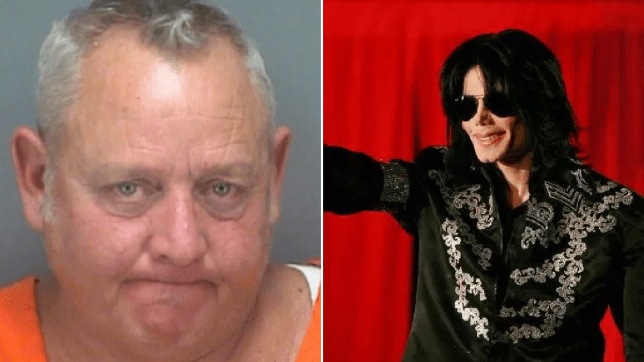 Mugshot of Todd Mahon and file photo of the real Michael Jackson