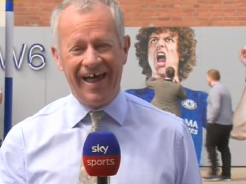 Chelsea fan caught punching David Luiz poster on live TV ahead of Arsenal transfer move