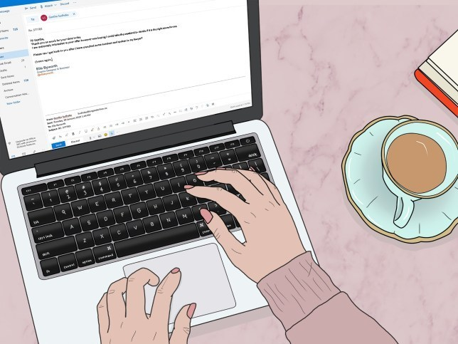 Illustration of a woman sat at her laptop (only her hands visible) with a cup of tea