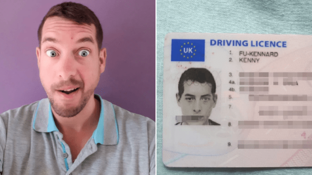 Kenny Fu-Kennard, 33, has been able to get a driver's licence with his name (Picture: SWNS)