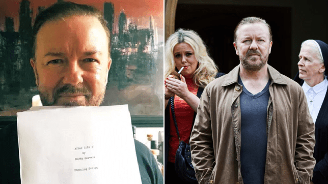 Ricky Gervais holds completed script of Netflix's After Life 2