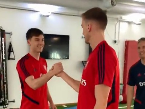 Kieran Tierney tells Rob Holding when he hopes to make his Arsenal debut