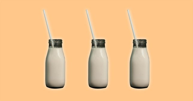 bottles of milk on an orange background