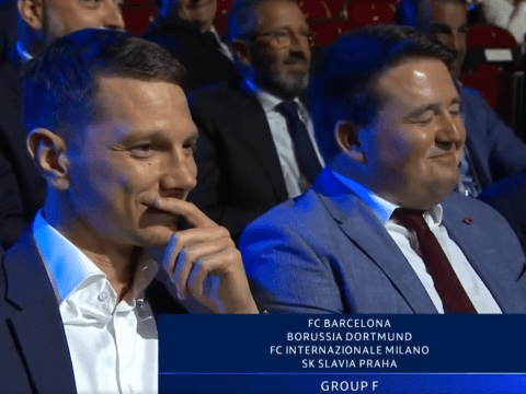 Slavia Prague delegates burst out laughing as club is drawn in Champions League group of death