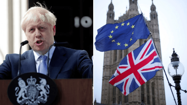 UK Prime Minister Boris Johnson (left) next to picture of EU flag and Union Jack