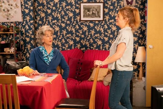 Jade Rowan [LOTTIE HENSHALL] tells Evelyn Plumber [MAUREEN LIPMAN] all about her terrible marriage in Coronation Street