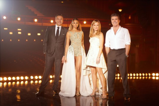 Television Programme: Britain's Got Talent with David Walliams, Alesha Dixon, Amanda Holden and Simon Cowell. Britain?s Got Talent is back! Returning to screens with the king of TV talent shows Simon Cowell, the joker of the pack David Walliams, alongside the one who?s seen it all, Amanda Holden and the queen of cool, Alesha Dixon, the popular judging panel have been stunned, entertained and moved to tears on their hunt for the best talent around. They are joined by the nation?s favourite TV duo Ant & Dec?. A THAMES/SYCO TV PRODUCTION FOR ITV Picture Shows: DAVID WALLIAMS, ALESHA DIXON, AMANDA HOLDEN AND SIMON COWELL. Source: Digital Photographer ALEX JAMES Picture Publicist: shane.chapman@itv.com 0207 157 3043