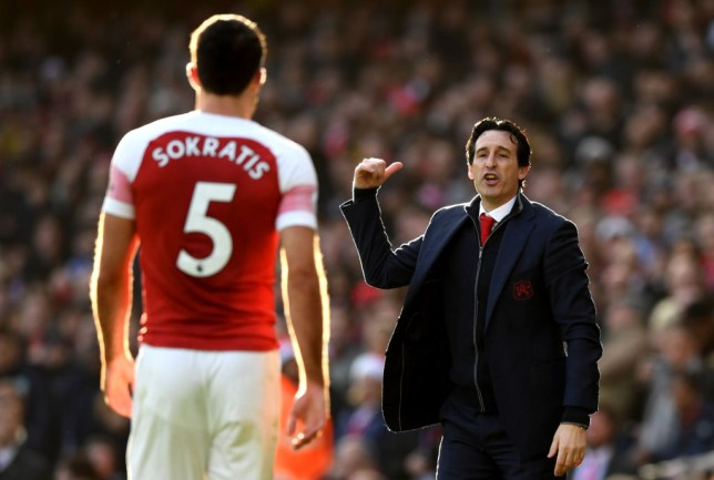 Sokratis Papastathopoulos and Unai Emery