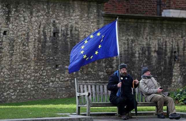 A pro-EU activists holds an EU flag as he demonstrates opposite the Houses of Parliament in London