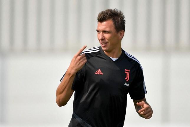 Mario Mandzukic pictured in Juventus training
