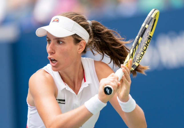 Johanna Konta hits a backhand during her US Open round four win