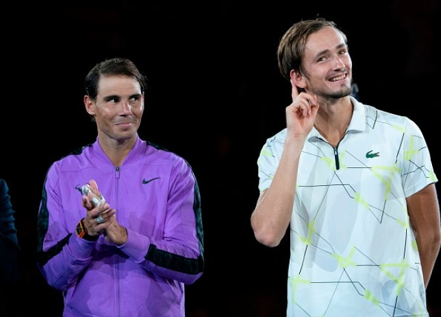 Daniil Medvedev engages the crowd after his defeat to  Rafael Nadal