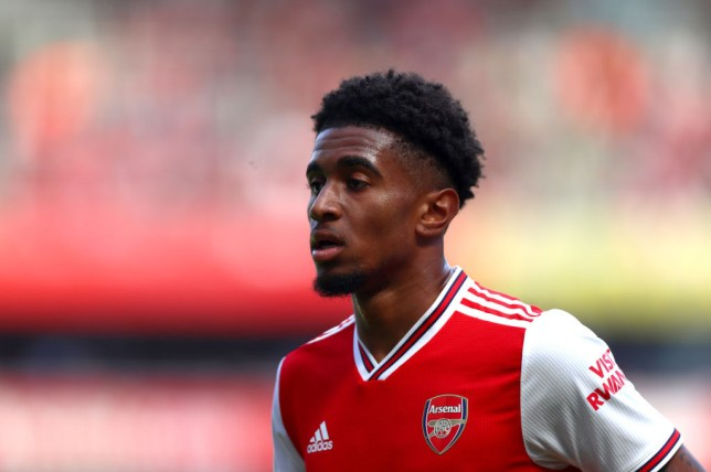 Reiss Nelson in action for Arsenal against Burnley