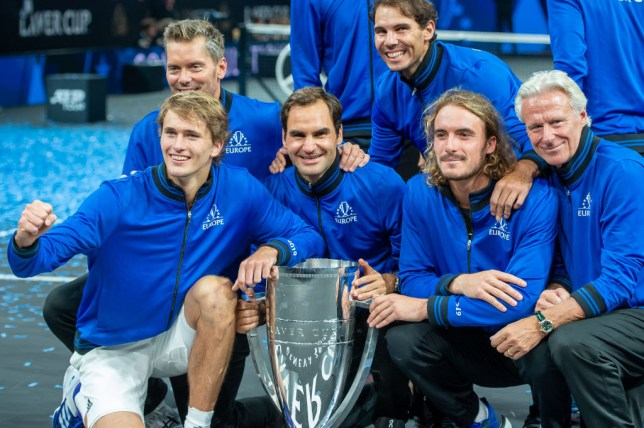 Roger Federer, Rafael Nadal and Team Europe celebrate winning the Laver Cup