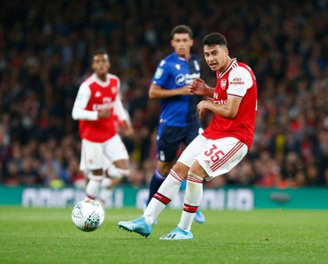 Gabriel Martinelli scored two goals in his full Arsenal debut against Nottingham Forest in the Carabao Cup