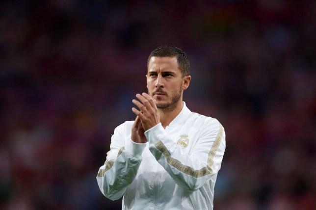 Eden Hazard applauds Real Madrid supporters before El Derbi against Atletico Madrid