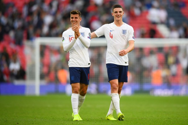 Mason Mount and Declan Rice applaud England supporters after their 4-0 win over Bulgaria