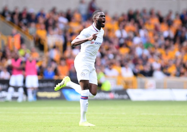WOLVERHAMPTON, ENGLAND - SEPTEMBER 14: Fikayo Tomori of Chelsea celebrates after scoring his team's first goal during the Premier League match between Wolverhampton Wanderers and Chelsea FC at Molineux on September 14, 2019 in Wolverhampton, United Kingdom. (Photo by Laurence Griffiths/Getty Images)