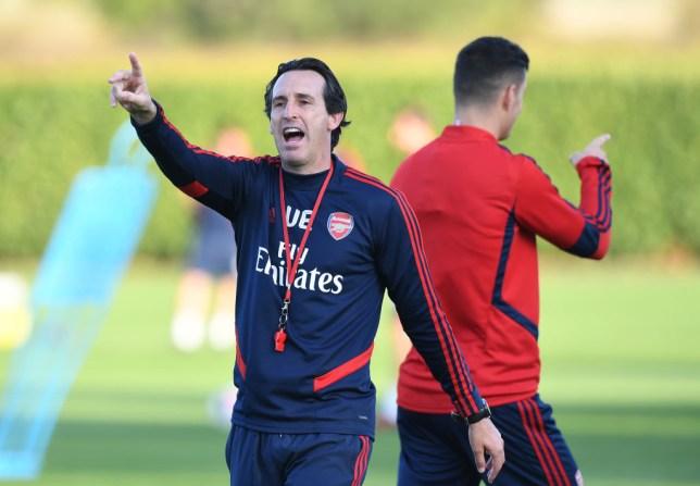 ST ALBANS, ENGLAND - SEPTEMBER 21: Arsenal Head Coach Unai Emery during a training session at London Colney on September 21, 2019 in St Albans, England. (Photo by Stuart MacFarlane/Arsenal FC via Getty Images)