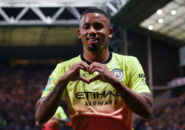 PRESTON, ENGLAND - SEPTEMBER 24: Gabriel Jesus of Manchester City celebrates after scoring his team's second goal during the Carabao Cup Third Round match between Preston North Endand Manchester City at Deepdale on September 24, 2019 in Preston, England. (Photo by Alex Livesey/Getty Images)