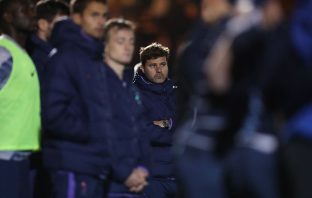 COLCHESTER, ENGLAND - SEPTEMBER 24: Mauricio Pochettino, Manager of Tottenham Hotspur during the Carabao Cup Third Round match between Tottenham Hotspur and Colchester United at JobServe Community Stadium on September 24, 2019 in Colchester, England. (Photo by Tottenham Hotspur FC/Tottenham Hotspur FC via Getty Images)