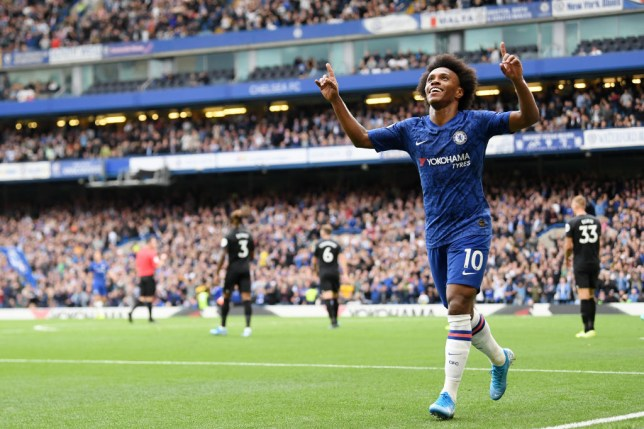 Willian celebrates after scoring for Chelsea against Brighton