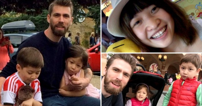 Murdered British businessman Michael Simpson with children Alice and Jack and picture of his killer and estranged wife Wei Wei Fu